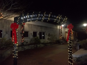 Gateway to the Smokies sign at night